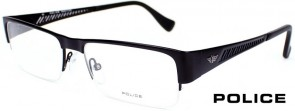 Police V8793 0531 Black Semi-Rimmed Glasses